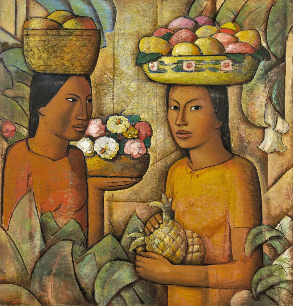 Mujeres con Frutas / Women with Fruit  ca. 1930 oil on canvas / óleo sobre tela 36.5 x 34.5 inches / 92.7 x 87.6 centímetros Private collection