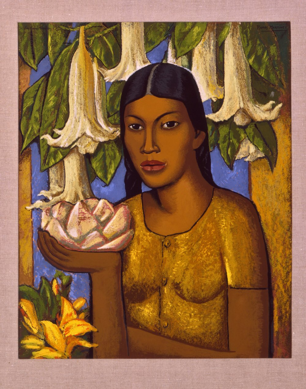 La India de los Floripondios / Indian Girl with Trumpet Flowers  ca. 1932 oil on canvas / óleo sobre tela 30 x 24 inches; 76.2 x 61 centímetros Private collection