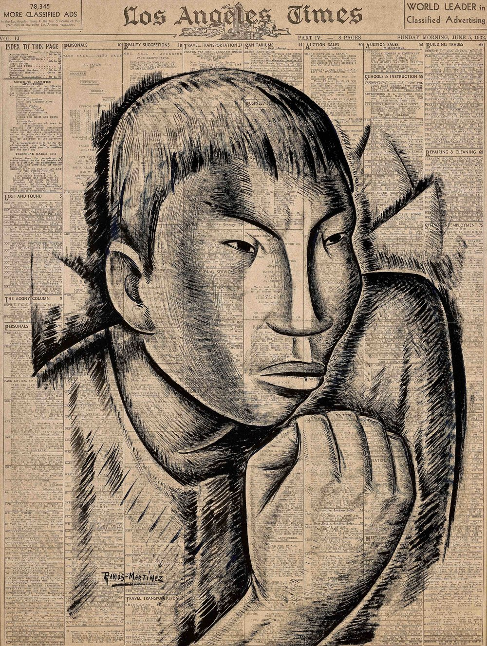 El Defensor / The Protector  1932 tempera and Conté crayon on newsprint / temple y crayon Conté sobre papel periódico ( Los Angeles Times , June 5, 1932) 21 x 15.5 inches / 53.3 x 39.4 centímetros Private collection