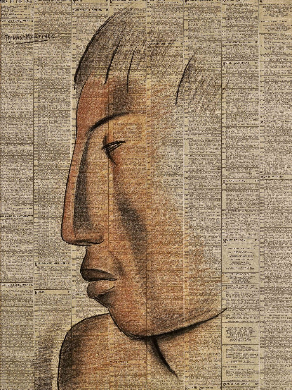 Perfil Azteca / Aztec Profile  1932 Conté crayon on newsprint / crayon Conté sobre papel periódico ( Los Angeles Times , May 16, 1932) 53 x 39.6 inches; 134.6 x 100.6 centímetros Private collection