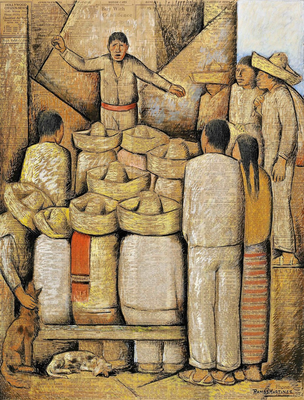 La Reuniòn / The Meeting  1932 tempera, charcoal and pastel on newsprint / temple, carbón y pastel sobre papel periódico (Hollywood Citizen News) 21 x 16 inches / 53.3 x 40.6 centímetros Private collection