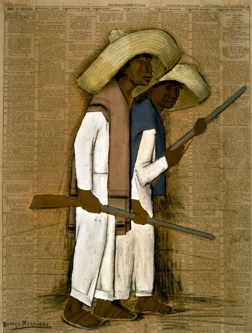 Dos Hombres con Fusiles / Two Men with Rifles  1931 gouache on newsprint / aquada sobre papel periódico ( Los Angeles Times , September 6, 1931) 21.8 x 16.3 inches; 55.3 x 41.3 centímetros