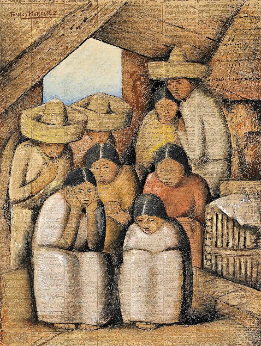 The Family / La Familia  1932 tempera, Conté crayon and pastel on newsprint / temple, crayon Conté y pintura al pastel sobre papel periódico (Los Angeles Times) 21.1 x 15.8 inches; 53.7 x 40 centímetros