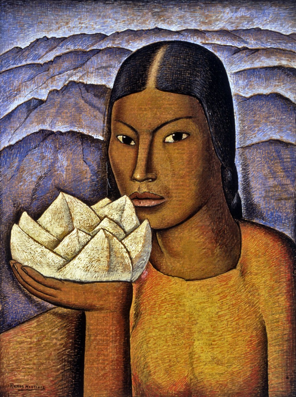 Mujer con Jícama / Woman with Jicama  ca. 1944 tempera and Conté crayon on newsprint / temple y crayon Conté sobre papel periódico 21 x 15.5 inches; 53.4 x 39.4 centímetros Private collection