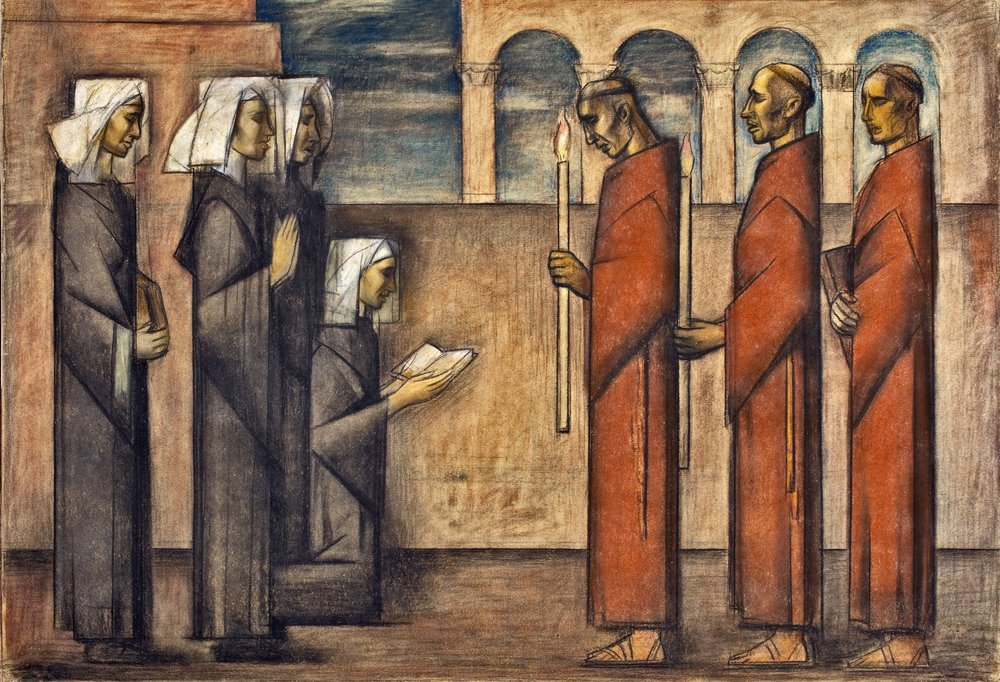 Frailes y Monjas / Friars and Nuns  ca. 1936 pastel / pintura al pastel 23.3 x 34.4 inches; 59.1 x 87.3 centímetros San Diego Museum of Art