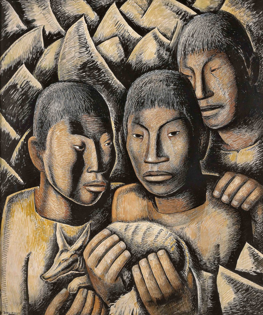 Indios con Cacomixtle (Padre e Hijos) / Indians with Cacomixtle (Father and Sons)  ca. 1932 tempera, Conté crayon and charcoal on paper / temple, crayon Conté y carbón sobre papel 26.3 x 22 inches; 66.7 x 55.9 centímetros  Private collection