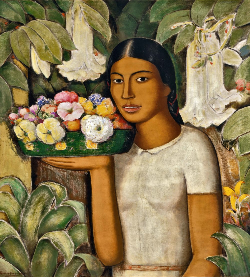 Mujer con Flores / Woman with Flowers  ca. 1932 oil on canvas / óleo sobre tela 32 x 28 inches; 81.3 x  71.1 centímetros Private collection