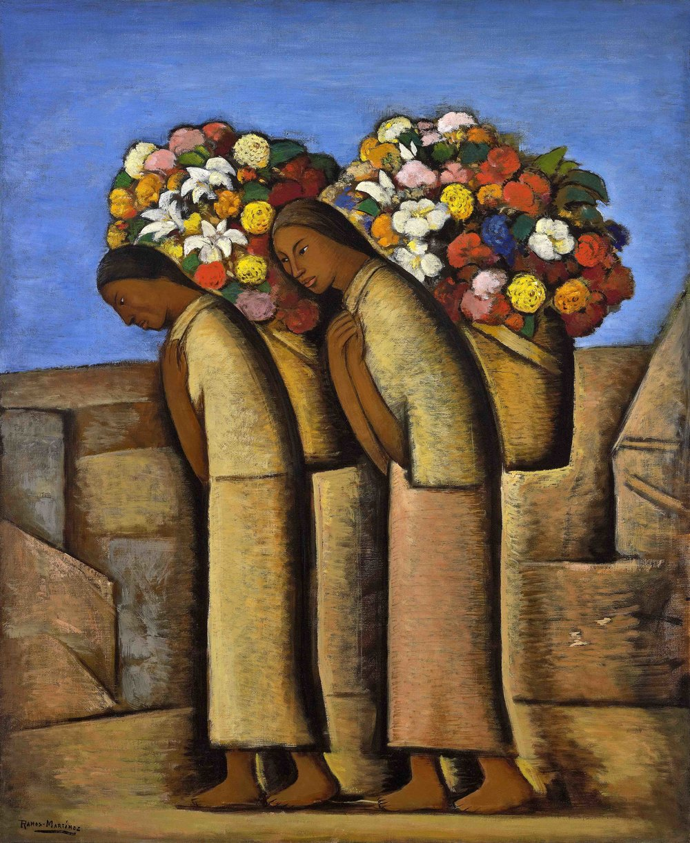 Las Floreras / The Flower Vendors  ca. 1933 oil on canvas / óleo sobre tela 36 x 30 inches; 91.4 x 76.2 centímetros Private collection