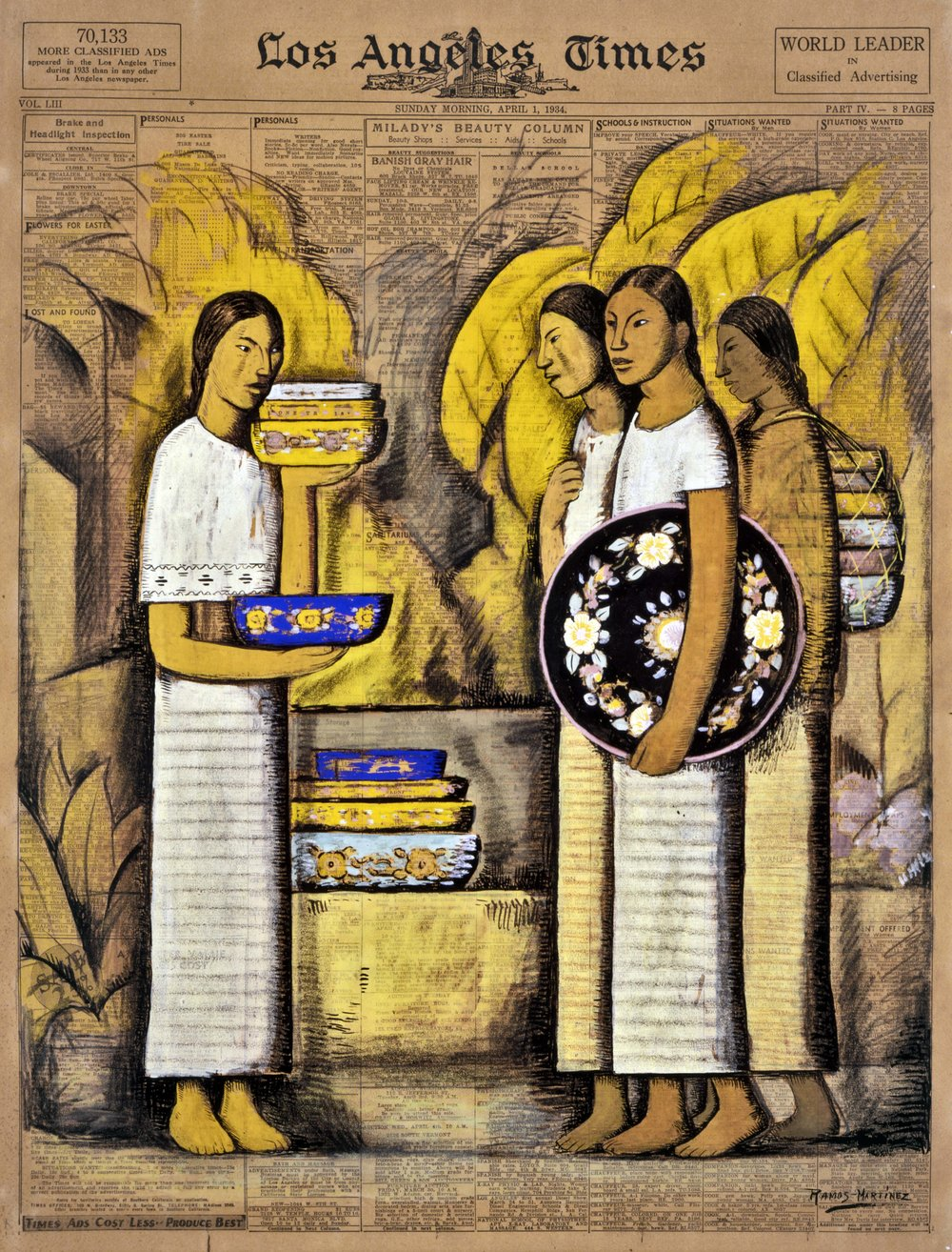 Vendedoras de Cerámica / Pottery Vendors  1934 tempera and charcoal on newsprint / temple y carbón sobre papel periódico ( Los Angeles Times , Sunday, April 1, 1934) 22.6 x 16.6 inches / 57.5 x 42.2 centímetros Private collection