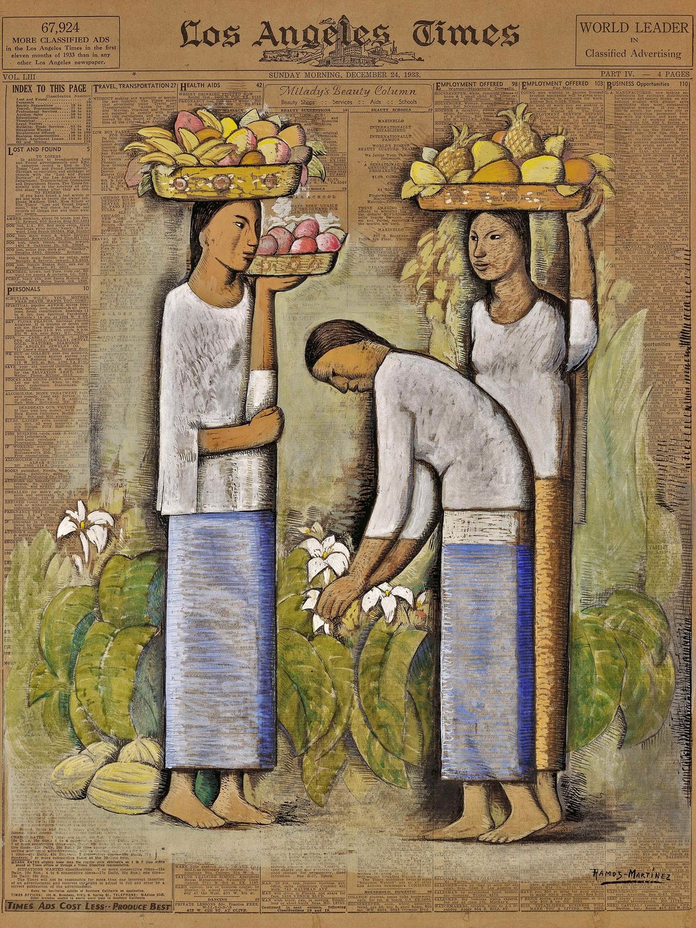 Mujeres con Frutas y Flores / Women with Fruit and Flowers  1933 tempera on newsprint / temple sobre papel periódico ( Los Angeles Times , December 24, 1933) 22.6 x 16.6 inches / 57.5 x 42.2 centímetros Private collection