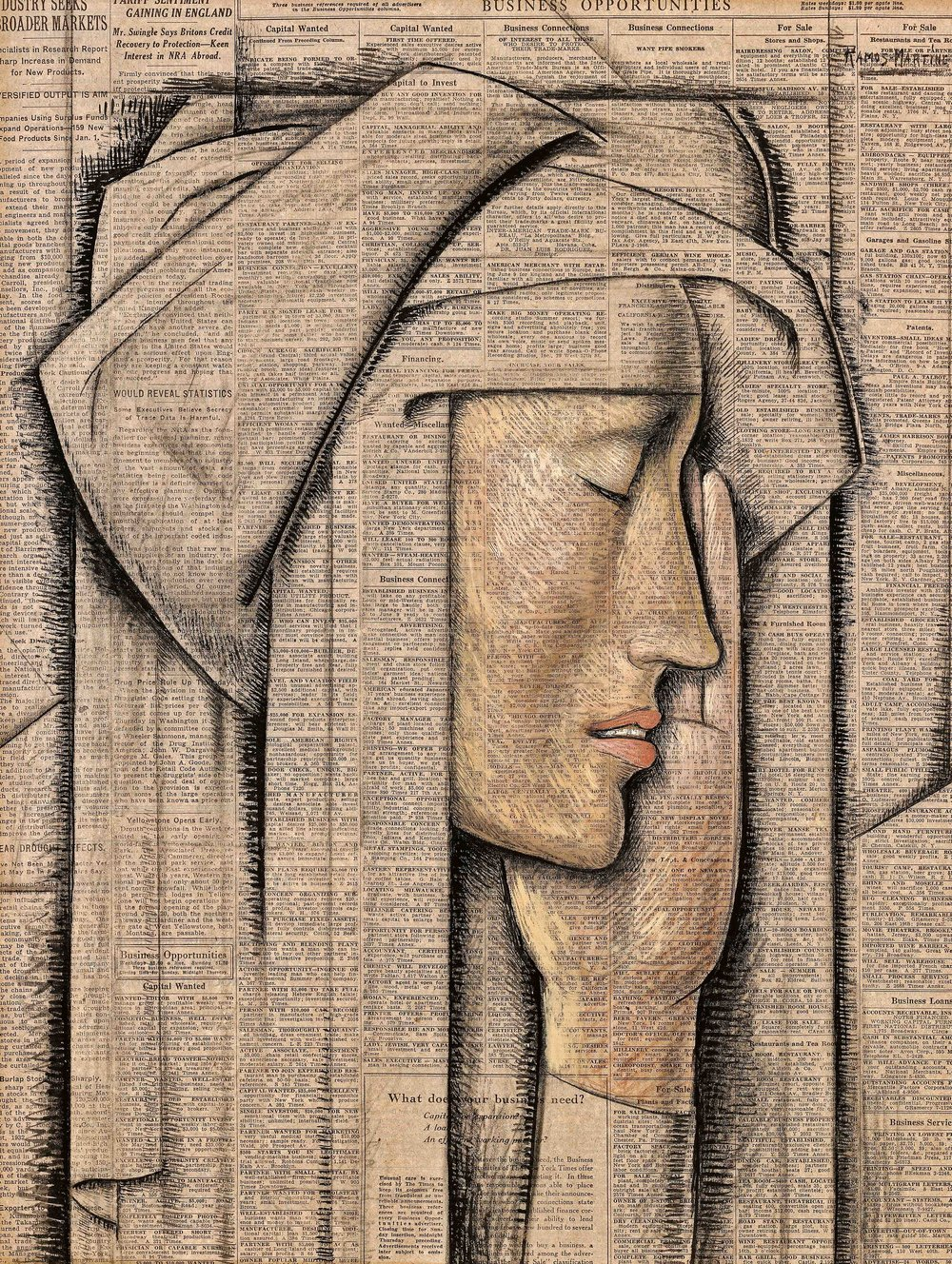 Cabeza de Monja / Head of a Nun  1934 tempera on newsprint / temple sobre papel periódico (New York Times) 20.5 x 15.5 inches; 52.1 x 39.4 centímetros Private collection