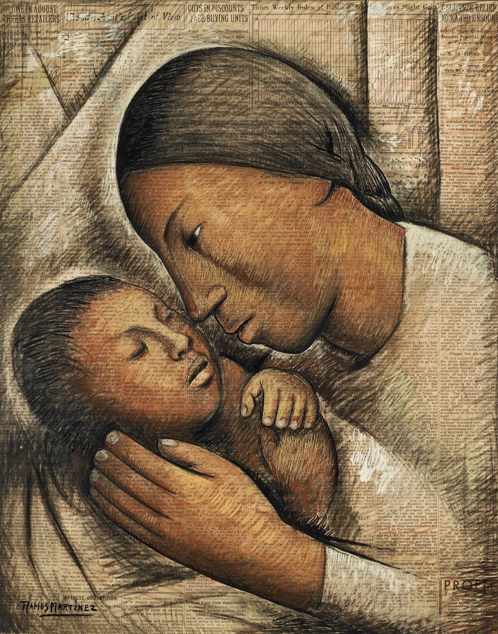 Amor de Madre / Tender Love  ca. 1934 tempera on newprint / temple sobre papel periódico ( New York Times ) 20.8 x 16.5 inches; 52.7 x 41.9 centímetros Private collection
