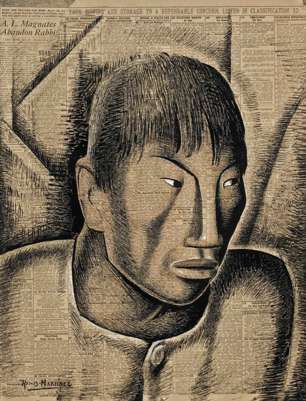 Cabeza Indígena / Indian Head  1934 tempera on newsprint / temple sobre papel periódico ( Los Angeles Times , 1934) 21.3 x 16.3 inches; 54 x 41.3 centímetros Private collection