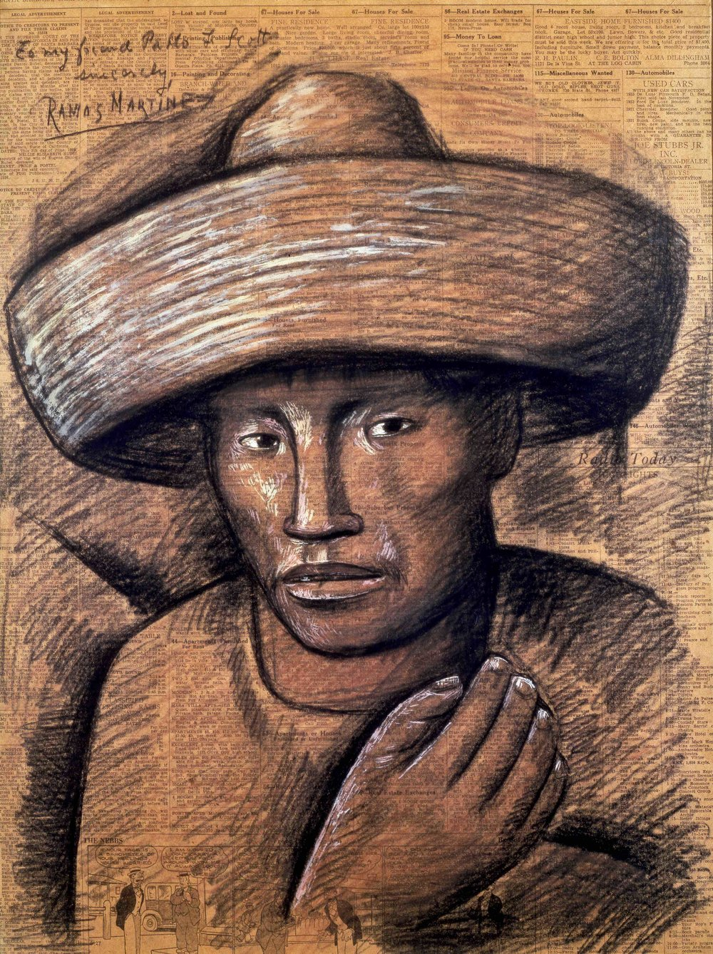 Hombre con Sombrero / Man with Hat  1934 crayon and tempera on newsprint mounted on paper / crayon y temple sobre papel periódico sobre papel ( Santa Barbara News-Press , June 5, 1934) 22.8 x 17 inches; 57.8 x 43.2 centímetros Private collection