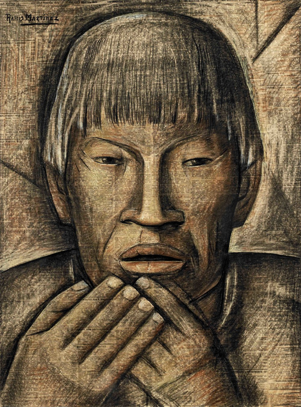 El Más Viejo del Pueblo / The Oldest Man in the Village  ca. 1935 tempera and Conté crayon on newsprint / temple y crayon Conté sobre papel periódico ( Los Angeles Times ) 21.1 x 15.6 inches / 53.7 x 39.7 centímetros Private collection