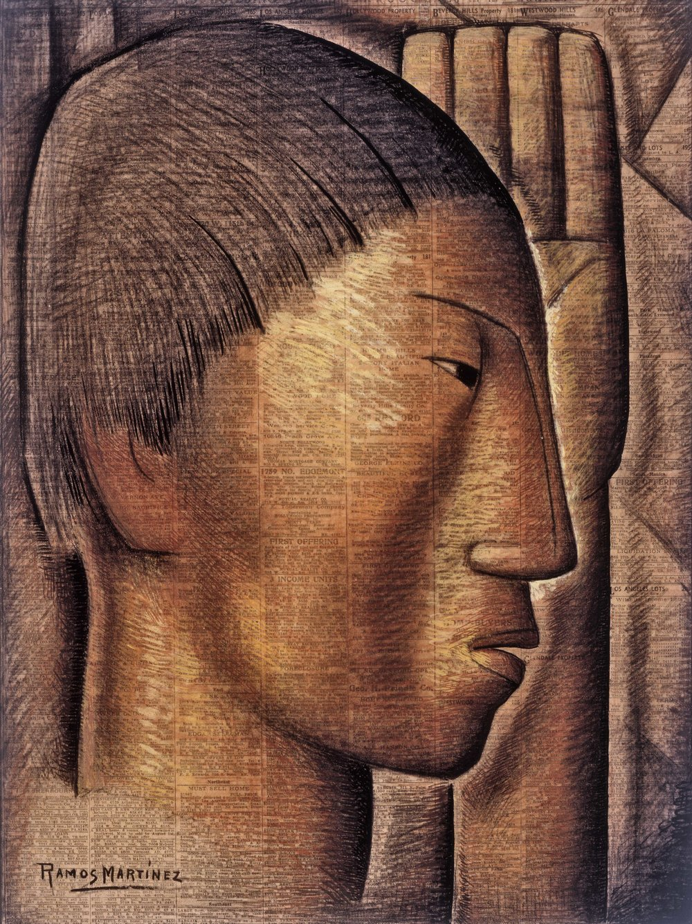 Perfil Indígena / Indian Profile  1935 Conté crayon, charcoal and tempera on newsprint / crayon Conté, carbón y temple sobre papel periódico ( Los Angeles Times , July 28, 1935) 21.1 x 16 inches; 53.7 x 40.6 centímetros Private collection