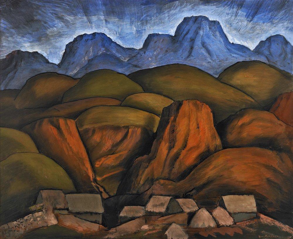 Paisaje Mexicano / Mexican Landscape ca. 1935 gouache and Conté crayon on paper / aguada y crayon Conté sobre papel 27 x 32.5 inches; 68.6 x 82.6 centímetros Scripps College