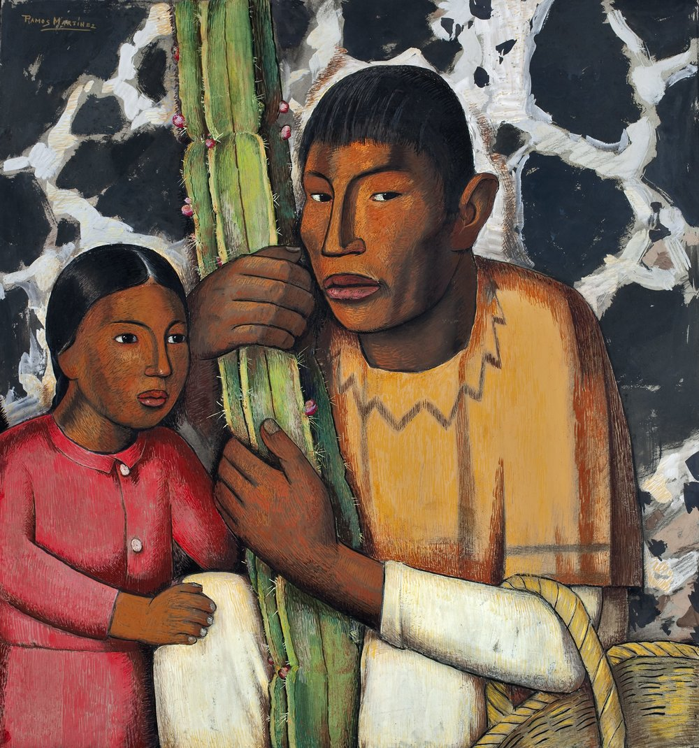 Indio del Cactus / Indian with Cactus  ca. 1938 tempera on paper / temple sobre papel 28.5 x 26.3 inches; 72.4 x 66.7 centímetros San Diego Museum of Art