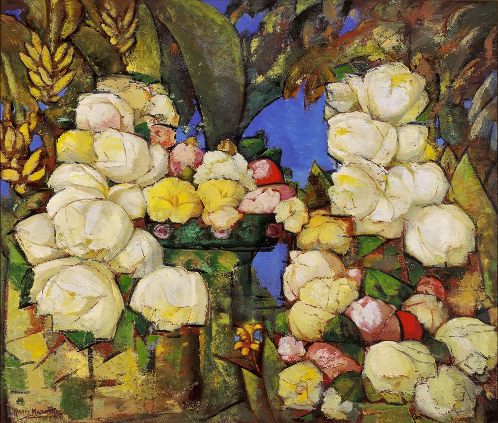 Flores Composición / Floral Composition  ca. 1935 oil on board / óleo sobre tabla 24 x 28 inches; 61 x 71.1 centímetros Private collection