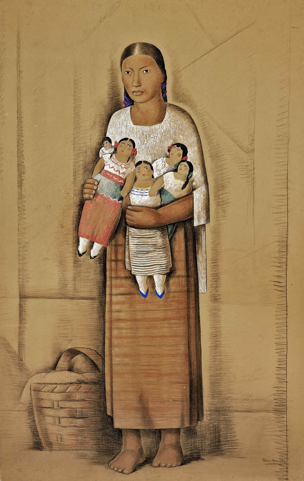 Mujer Joven con Muñecas / Young Woman with Dolls  ca. 1935 tempera and Conté crayon on paper mounted on board / temple y crayon Conté sobre papel sobre tabla 68 x 42.8 inches; 172.7 x 108.6 centímetros Private collection