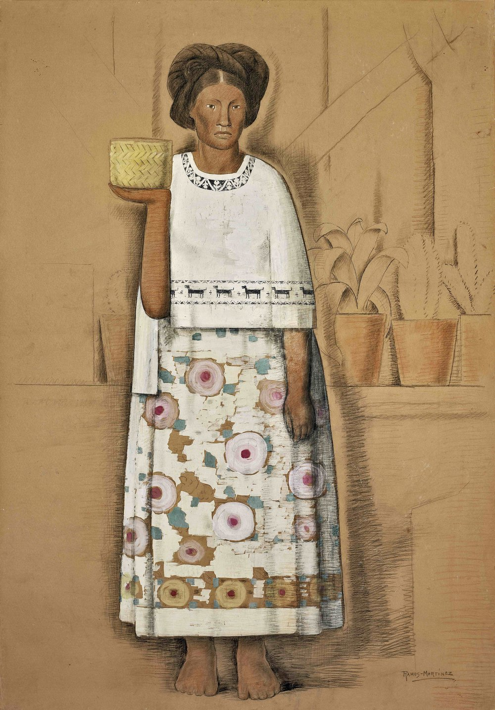 India de Michoacán / Indian Woman from Michoacan  ca. 1935 tempera and Conté crayon on paper mounted on board / temple y crayon Conté sobre papel sobre tabla 69.3 x 48 inches; 175.9 x 121.9 centímetros Private collection
