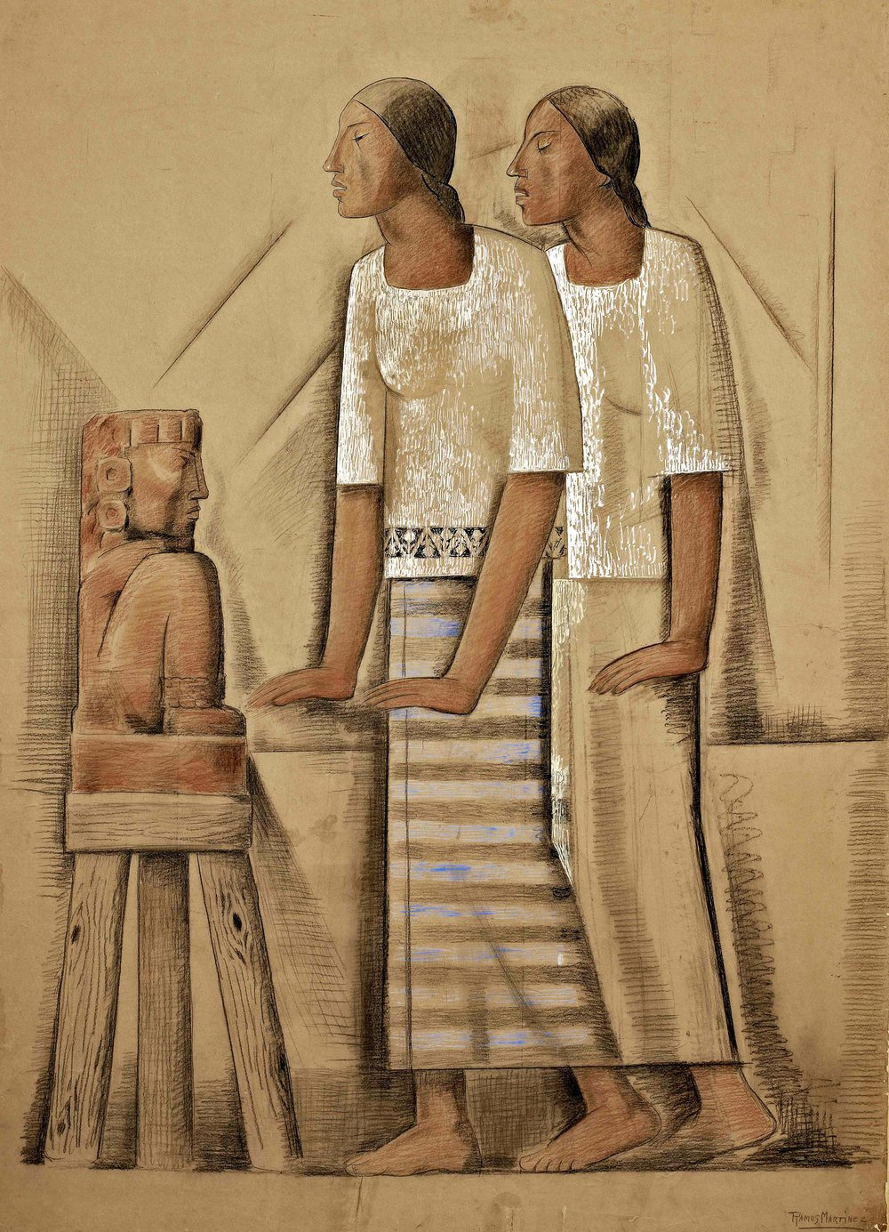 Dos Mujeres Ante el Ídolo / Two Women Before an Idol  ca. 1935 tempera and Conté crayon on paper mounted on board / temple y crayon Conté sobre papel sobre tabla 68.8 x 48 inches; 174.6 x 121.9 centímetros Private collection