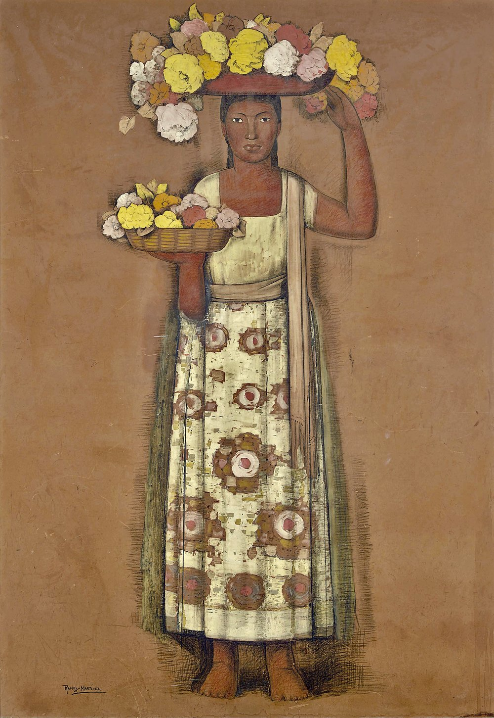 Sin Título - Mujer Con Flores / Untitled - Woman with Flowers  ca. 1935 gouache, ink, crayon and graphite on board / aguada, tinta, crayon y grafito sobre tabla 67 x 47 inches; 170.2 x 119.4 centímetros Private collection