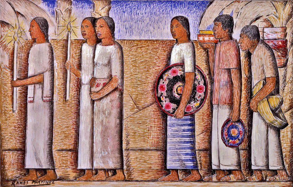 La Procesión / The Procession  ca. 1935 tempera, ink, and graphite on paper / temple, tinta y grafito sobre papel 10.8 x 17 inches / 27.3 x 43.2 centímetros Private collection