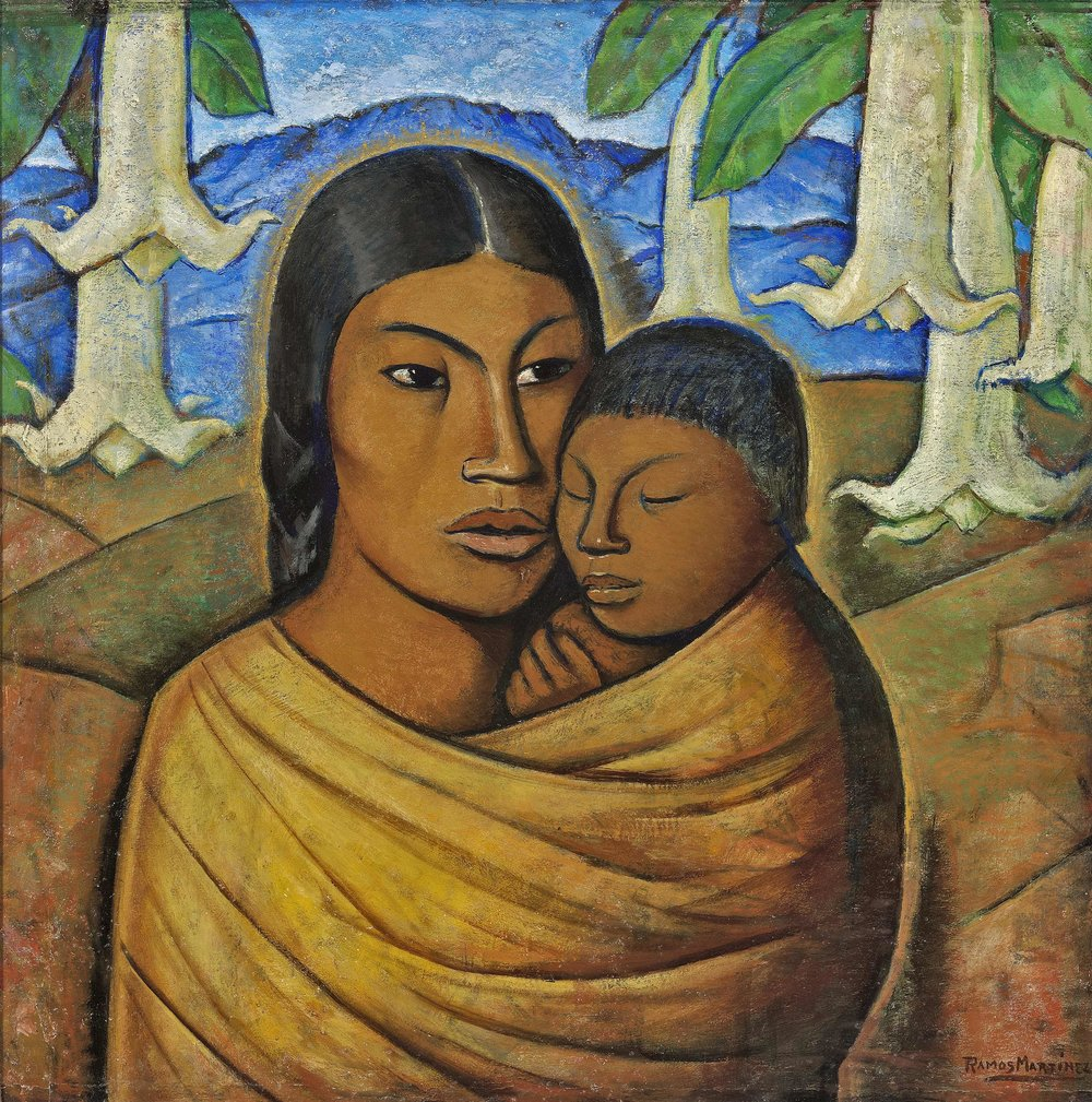 Madre India / Indian Mother  ca. 1935 oil on board / óleo sobre tabla 24 x 23.3 inches; 61 x 59.1 centímetros Private collection