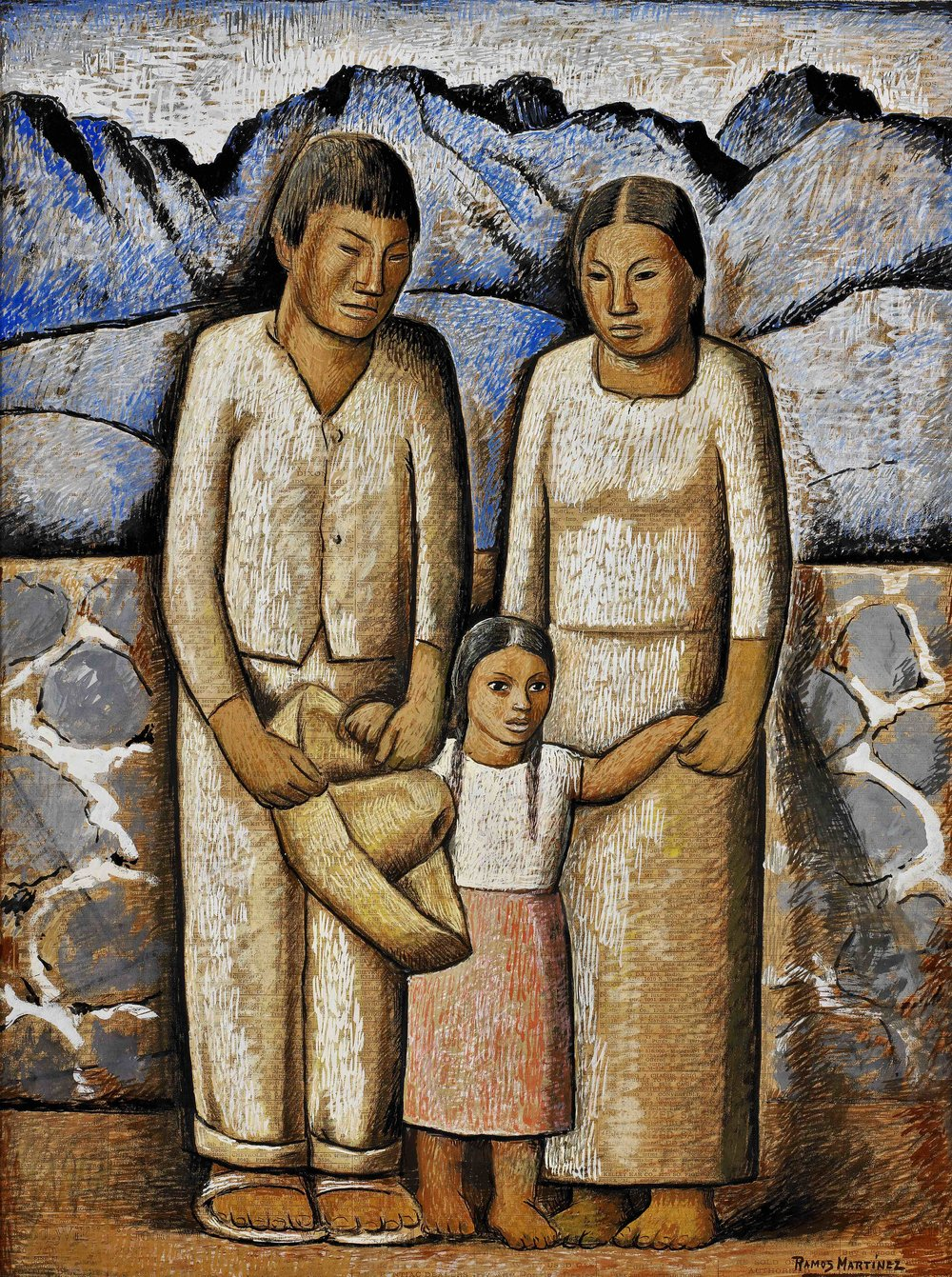 La Familia / The Family  ca. 1936 tempera on newsprint / temple sobre papel periódico (Los Angeles Times, March 21, 1937) 21 x 16 inches; 53.3 x 40.6 centímetros Private collection