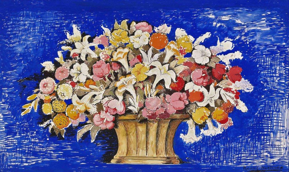 Canasta de Flores (Sinfonía Azul) / Flower Basket (Blue Symphony)  ca. 1937 tempera on Strathmore paper / temple sobre papel Strathmore 14.5 x 22.8 inches; 36.5 x 57.8 centímetros