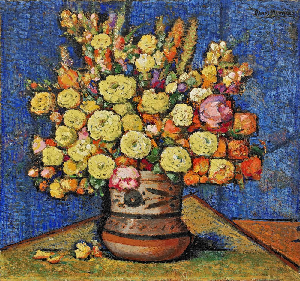 Flores en Jarro Mexicano / Flowers in a Mexican Vase  ca. 1936 oil on board / óleo sobre tabla  14.5 x 15.3 inches; 36.8 x 38.7 centímetros Private collection