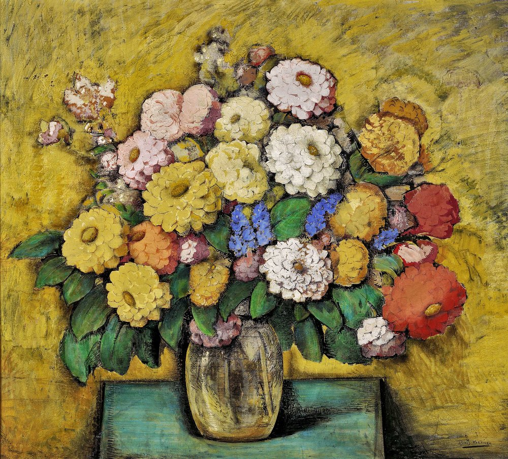 Ramos de Dalias / Bouquet of Dahlias  ca. 1938 tempera and ink on board / temple y tinta sobre tabla 30 x 32.5 inches / 76.2 x 82.6 centímetros Private collection