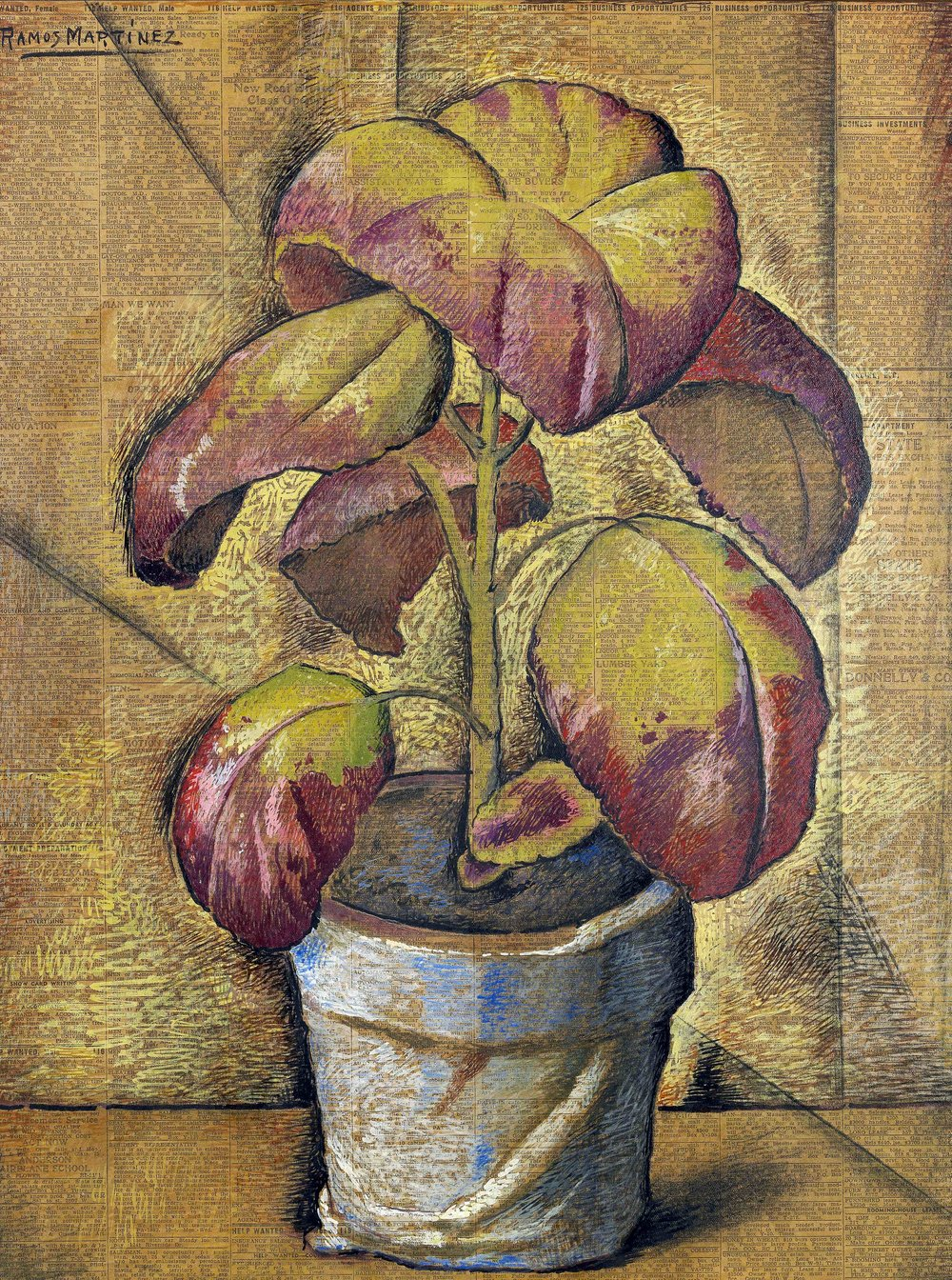 Coleus en Maceta Azul / Coleus in a Blue Point   1938 tempera on newsprint / temple sobre papel periódico (Los Angeles Times, February 27, 1938) 20.8 x 15.4 inches; 52.7 x 39.1 centimeters Private collection