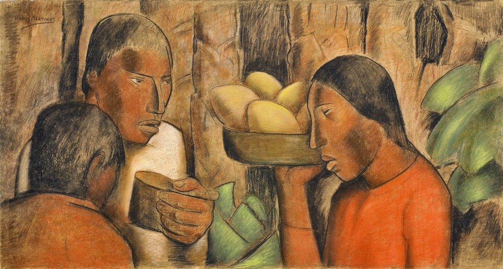 Vendedore de Mangos / Mango Vendor ca. 1938 tempera, pastel and Conté crayon on paper / temple, pintura al pastel, crayon Conté sobre papel 19 x 36 inches; 48.3 x 91.4 centímetros