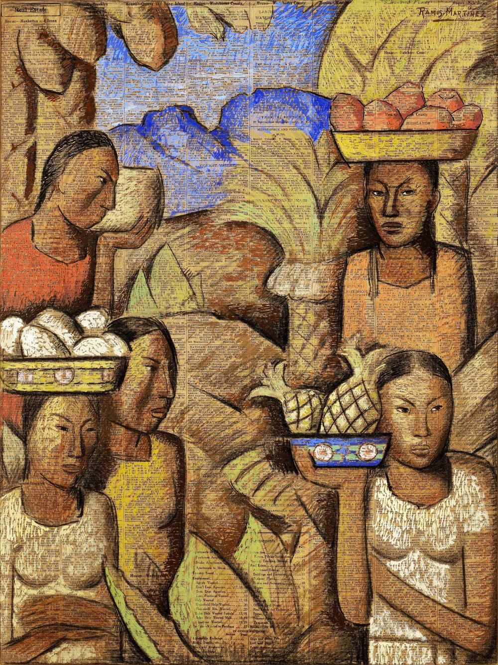 Vendedoras de Frutas / Fruit Vendors  ca. 1938 tempera and charcoal on newsprint / temple y carbón sobre papel periódico ( New York Times , July 17, 1938) 21 x 16 inches; 53.3 x 40.6 centímetros Private collection
