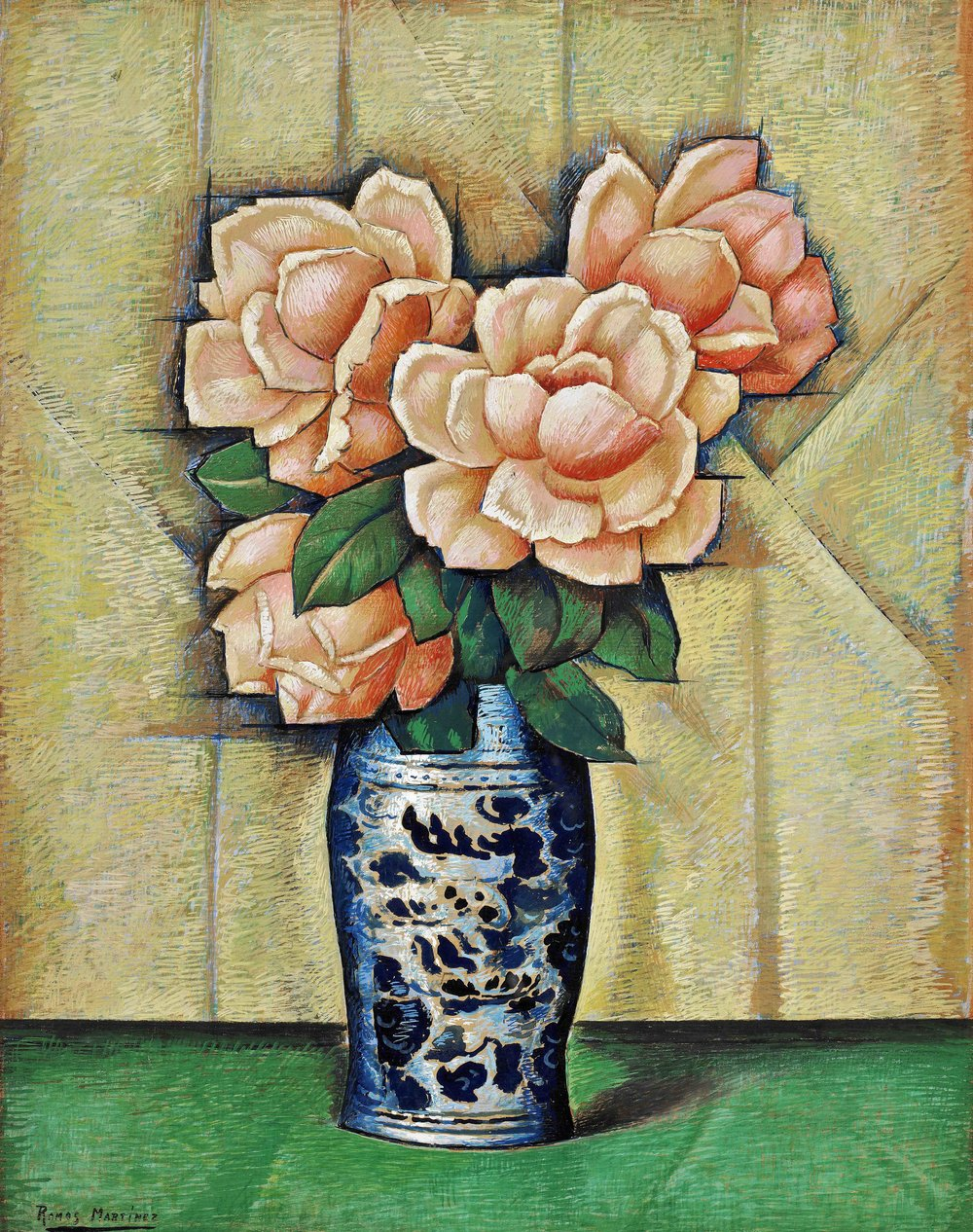 Rosas en Jarrón Azul / Roses in a Blue Vase  ca. 1940 tempera on paper mounted on board / temple sobre papel sobre tabla 24 x 19 inches; 61 x 48.3 centímetros Private collection