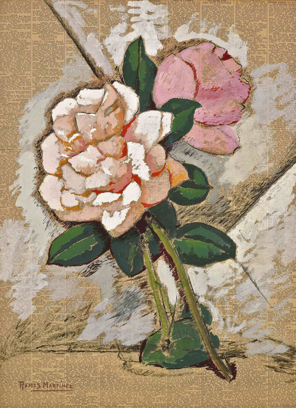 Flores / Blossoms  1946 tempera on newsprint / temple sobre papel periódico 22.5 x 16.5 inches; 57.2 x 41.9 centímetros