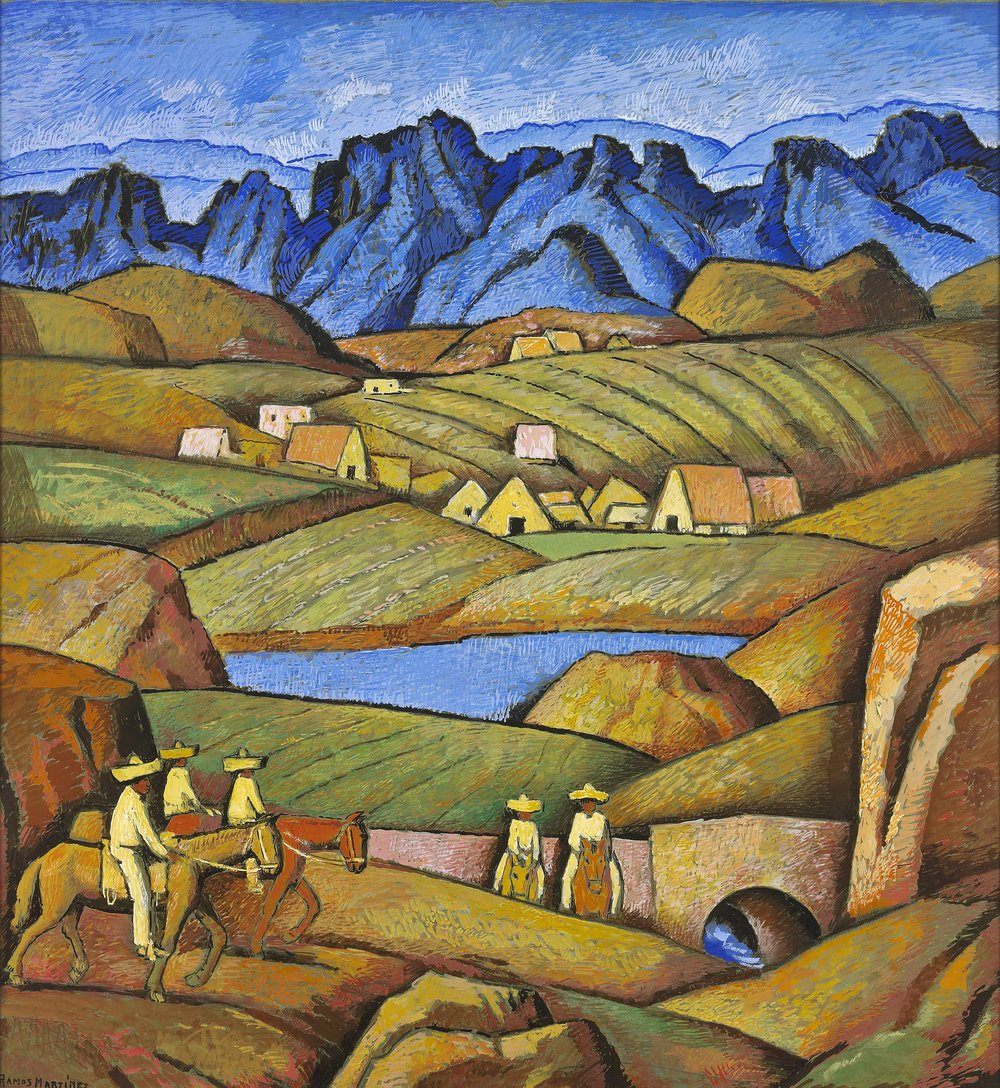El Lago de Mil Cumbres / The Lake at Mil Cumbres  ca. 1940 tempera and Conté crayon on board / temple y crayon Conté sobre tabla 24.8 x 23.4 inches; 62.9 x 59.4 centímetros Private collection