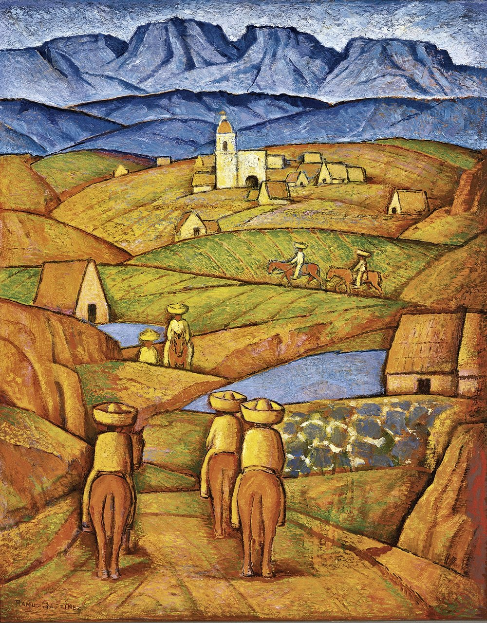 Los Charros del Pueblo / The Charros in the Village  ca. 1941 oil on binder board / óleo sobre tabla comprimida 30 x 24 inches; 76.2 x 61 centímetros San Diego Museum of Art