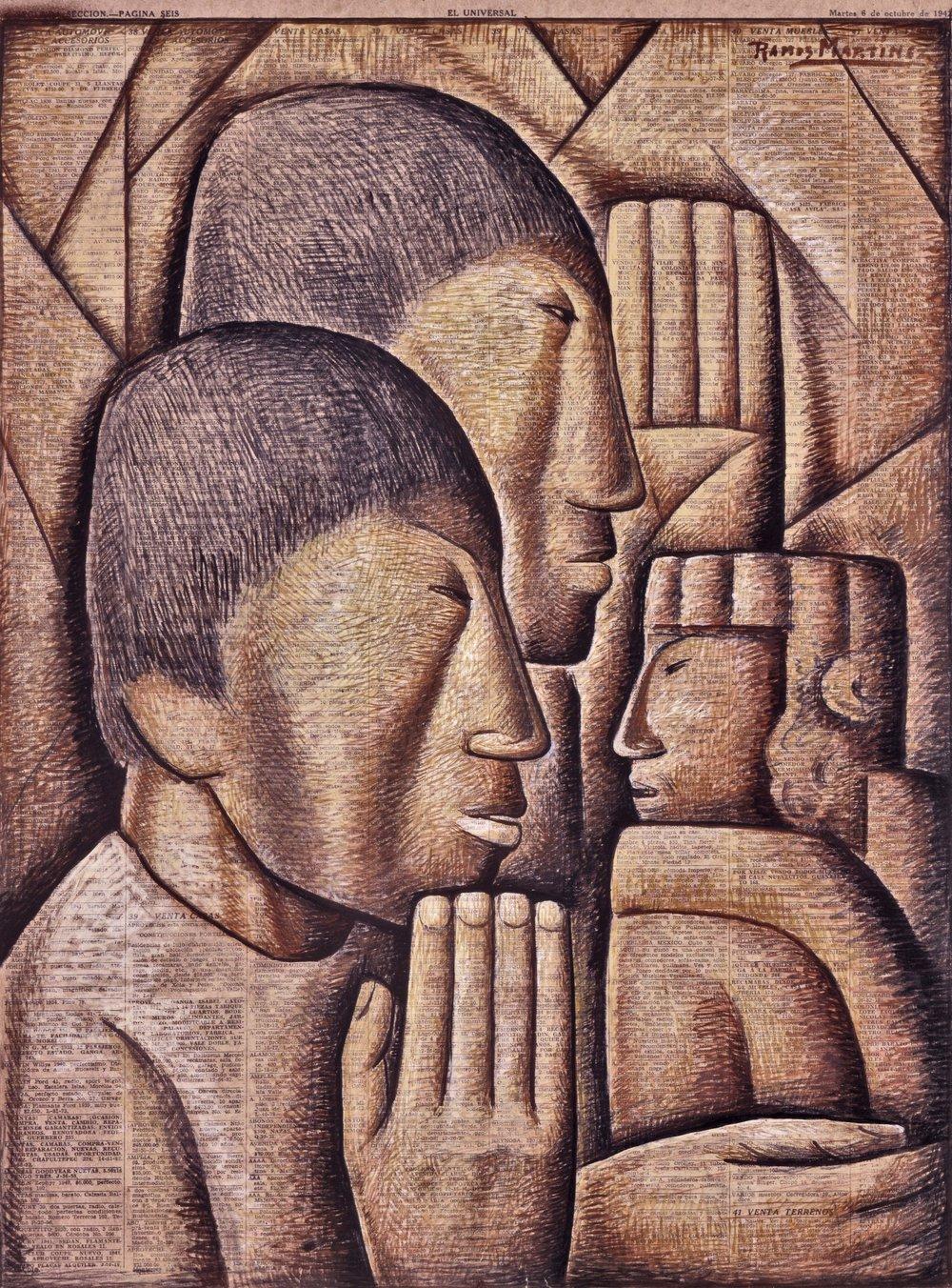 Adoración de Indios / Indians Worship  1942 gouache on newsprint / aguada sobre papel periódico 21.8 x 16 inches; 55.3 x 40.6 centímetros Phoenix Museum of Art