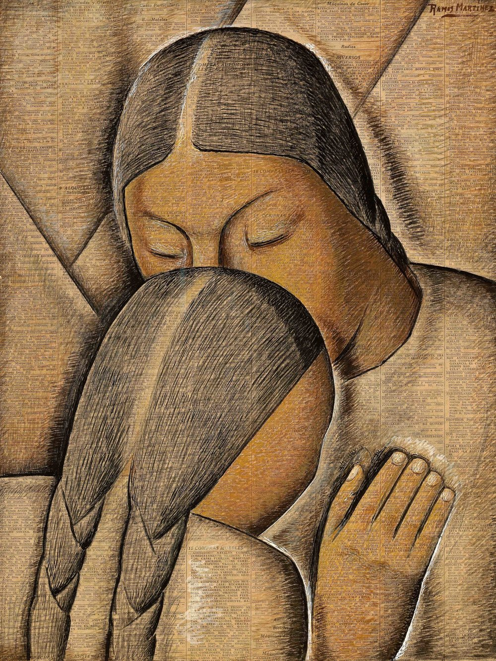 Abrazo Materno / Maternal Embrace  1942 tempera on newsprint / temple sobre papel periódico ( El Universal , November 14, 1942) 21.2 x 16 inches; 53.7 x 40.6 centímetros