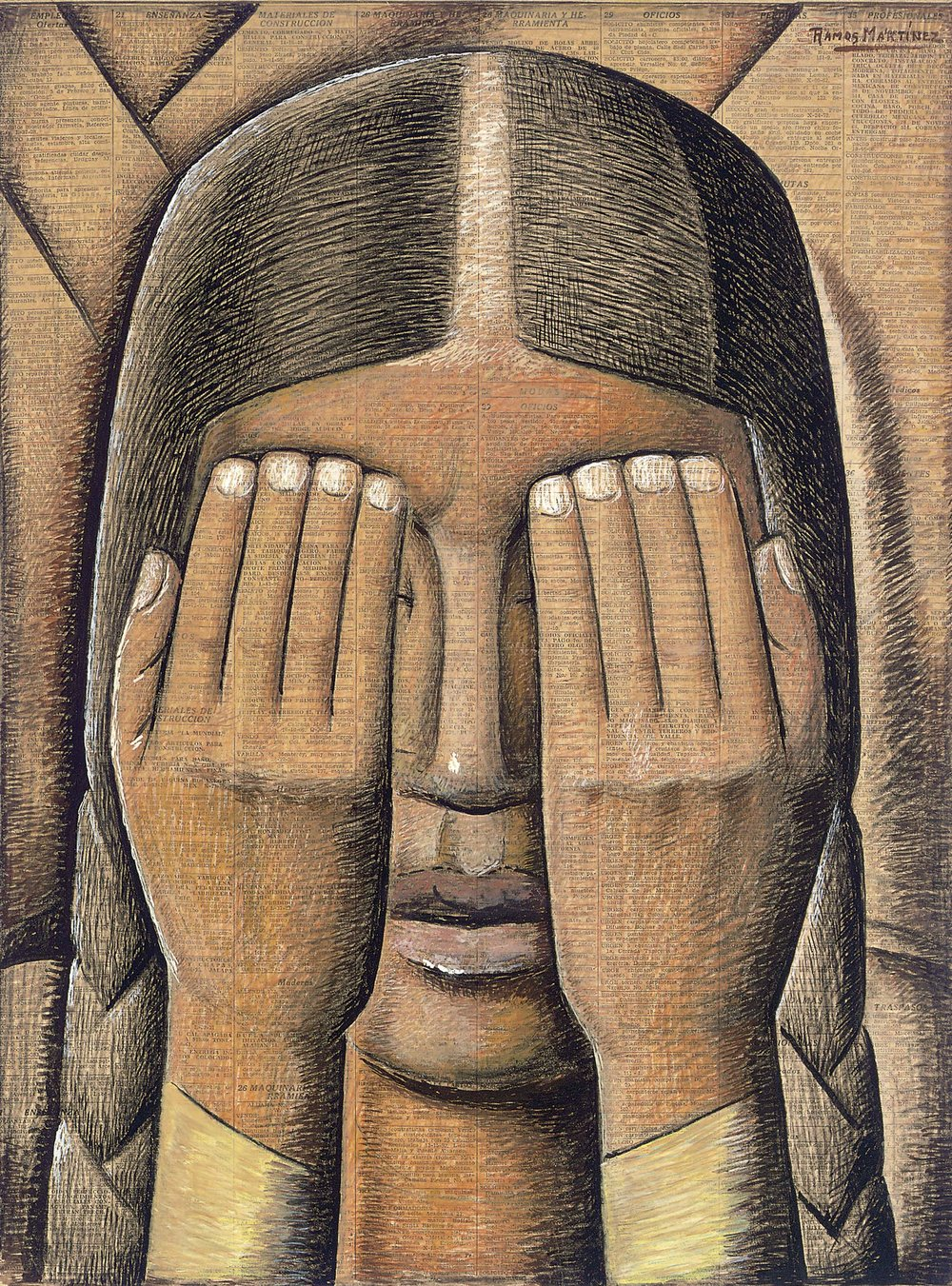 Súplica / Supplication  1942-1945 tempera on newsprint / temple sobre papel periódico ( El Universal , November 17, 1942) 21 x 16 inches; 53.3 x 40.6 centímetros