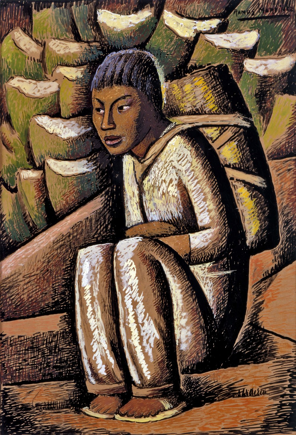 Vendedor de Pulque / Pulque Vendor  ca. 1938 tempera on paper / temple sobre papel 16.9 x 11.4 inches; 42.9 x 28.9 centímetros