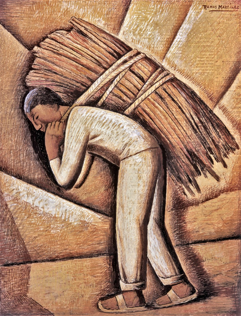El Cargador de Leña / The Lumber Carrier  1943 tempera on newsprint / temple sobre papel periódico ( El Universal , October 24, 1943) 23 x 17 inches; 58.4 x 43.2 centímetros