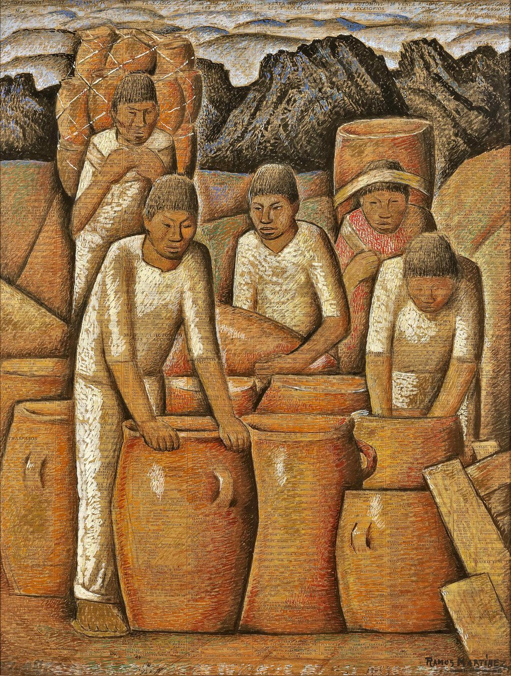 Alfareros / Potters  ca. 1943 tempera and Conté crayon on newsprint / temple y crayon Conté sobre papel periódico ( El Universal , July 10, 1943) 17 x 23 inches; 43.2 x 58.4 centímetros