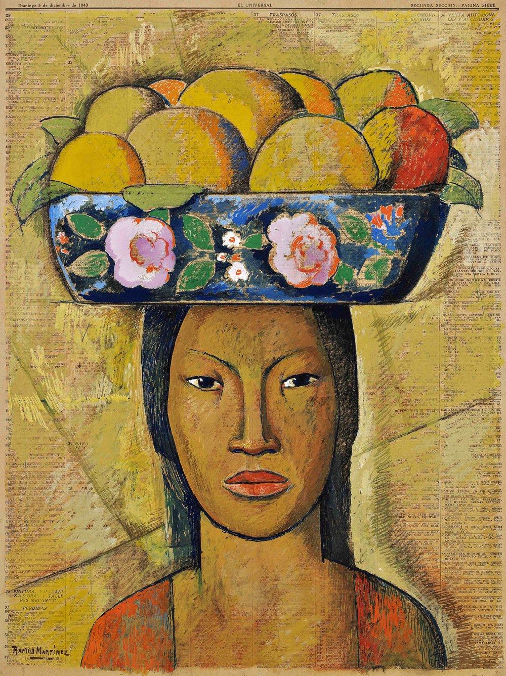 Mujer con Frutero a la Cabeza / Bowl of Fruit on Woman's Head  1943 colored oil pastels (casein) on newsprint / pintura pastel al óleo (casein) sobre papel periódico 22 x 16.5 inches; 55.9 x 41.9 centímetros Scripps College