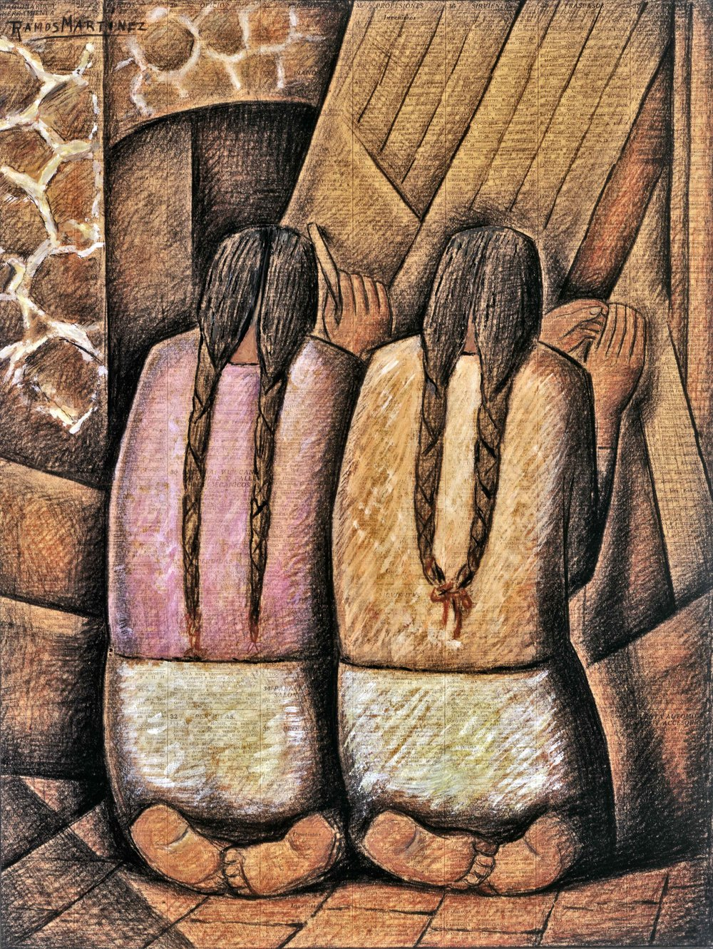 Las Tejedoras / The Weavers  1944 tempera and charcoal on newsprint / temple y carbón sobre papel periódico (El Universal, September 3, 1944) 21 x 16 inches; 53.3 x 40.6 centímetros University of Arizona Museum of Art