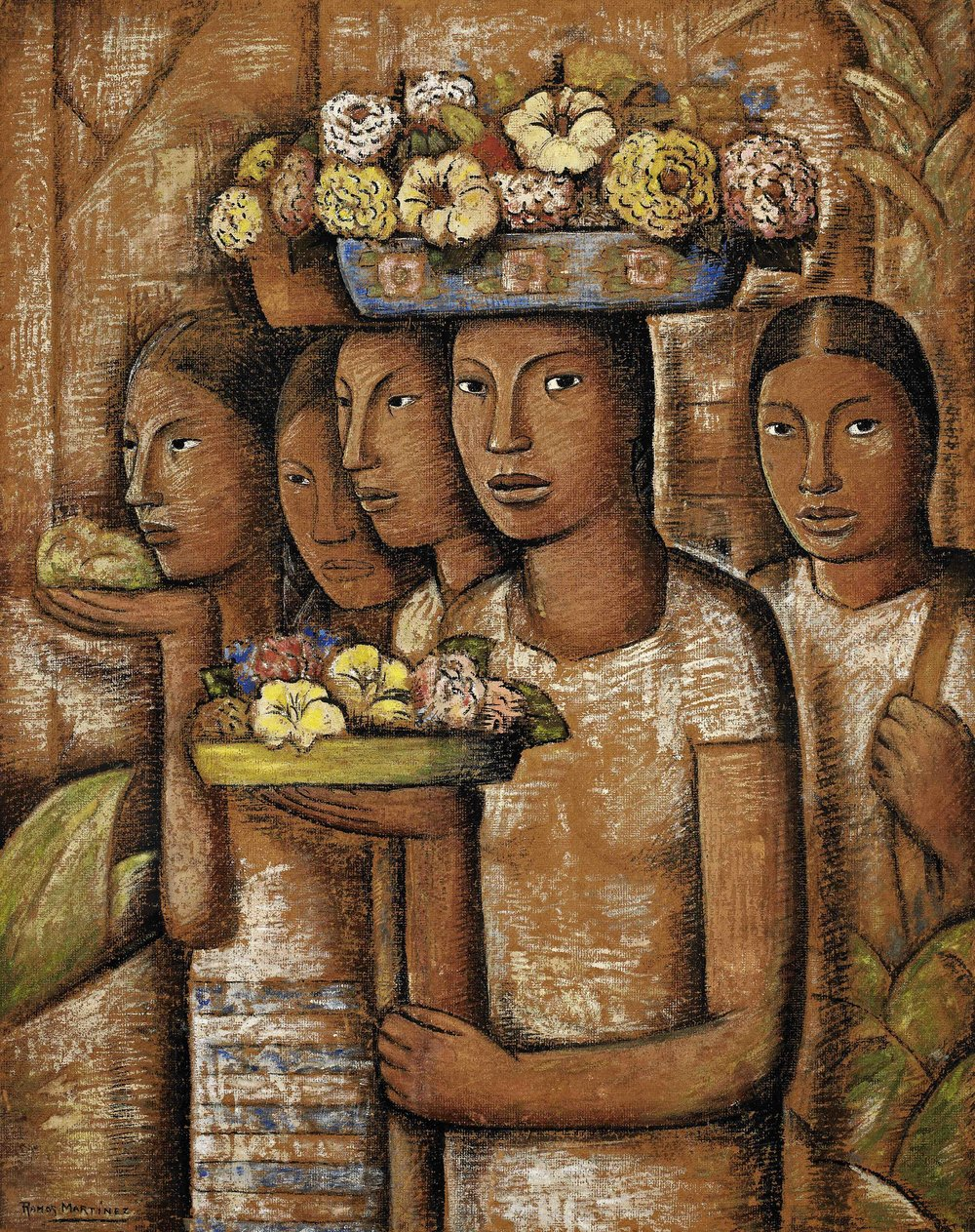 Mujeres Indígenas de Oaxaca / Native Women from Oaxaca  1944 oil on board / óleo sobre tabla 44.8 x 35.5 inches; 113.7 x 90.2 centímetros
