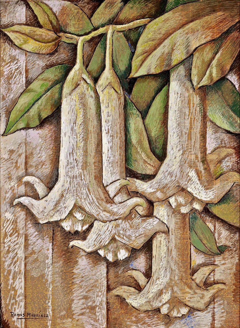 Los Floripondios / Trumpet Flowers  1946 tempera on newsprint / temple sobre papel periódico ( Los Angeles Times , February 17, 1946, page 7) 22.8 x 16.5 inches; 57.8 x 41. 9 centímetros